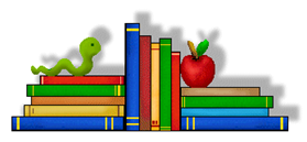 Picture of books with apple and bookworm