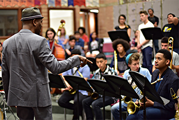 Photo of Musician with Band students