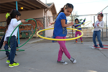 Photo of students hoola-hooping